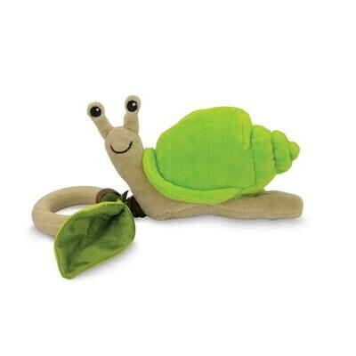 Green Velour - Snail Crawling Teething Toy - Apple Park