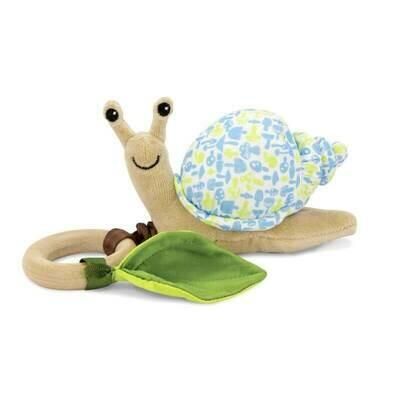 Blue Mushroom Print - Snail Crawling Teething Toy - Apple Park