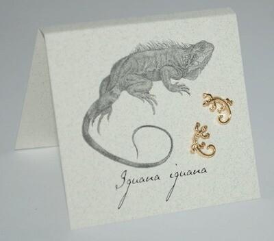 S&B Iguana Curly Tail 14k Gold vermeil Post Earrings