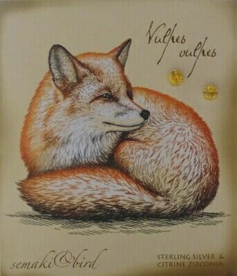 S&B Fox Citrine Zirconia SS Nature Gem Earrings