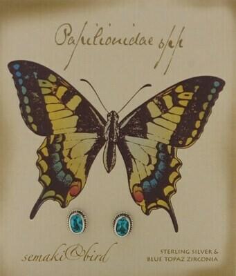 S&B Butterfly Blue Topaz SS Nature Gem Earrings