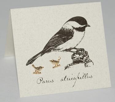 S&B Chickadee 14k Gold vermeil Post Earrings