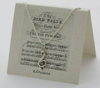 """S&B G-Clef SS Pendant of 16"""" SS Chain Necklace"""