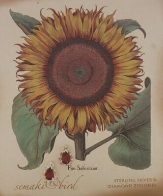 S&B Sunflower Garnet SS Nature Gem Earrings