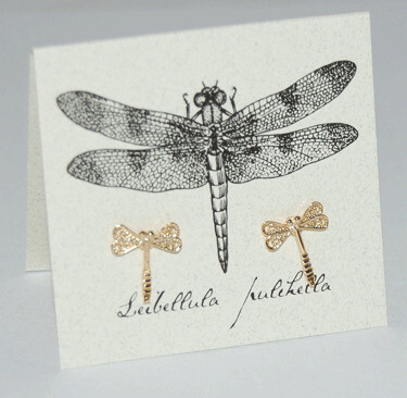 S&B Dragonfly 14k Gold vermeil Post Earrings