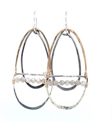 AbaM E75146 Moonstone, Oxidized SS Oval Earrings