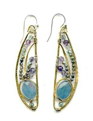 AbaM E78718 Angelite, Fluorite, Pyrite SS/Brass Dragon Fly Earrings