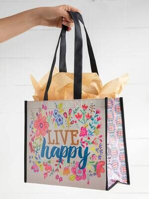 NL 157 Live Happy: Happy Bag Lrg Recycled Gift Bag