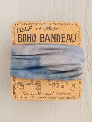 318 Blue Grey Tie-Dye Half Boho Bandeau