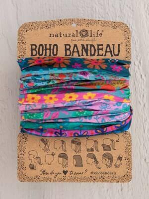 312 Blue/Pink Border Boho Bandeau