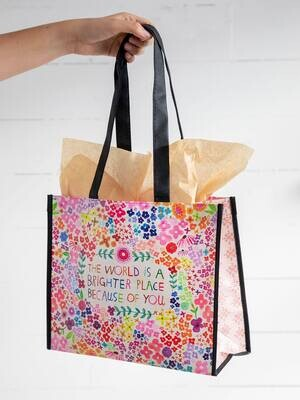 NL 155 World Brighter Happy Bag Lrg Recycled Gift Bag