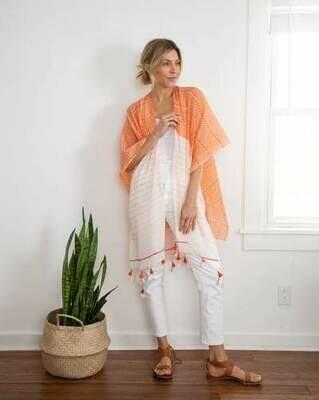 Orange/White Cotton Tassel Wrap