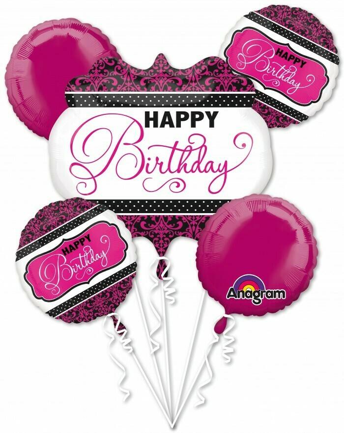 Bouquet Pink Black White Birthday P75