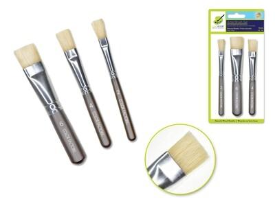 'Stubbies' Smooth Handle Bristle x3 Wood Handle