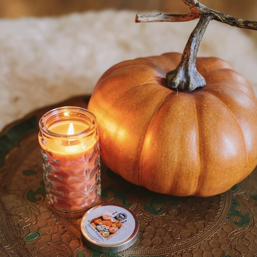 Harvest Pumpkin Clear Glass Candle
