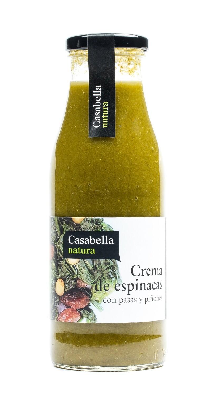 Biologische Creme van Spinaziecrème met rozijnen en pijnboompitten / 500 ml  per Fles
