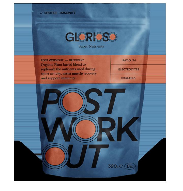 Biologisch veganistisch PostWorkout Recovery Glutenvrij 390 gr / Fórmula Bio para la recuperación muscular después del entrenamiento. Ratio 3:1 y Vitamina D.