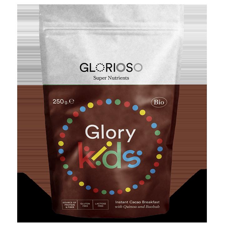 Biologisch veganistisch Glory Kind Poeder Glutenvrij 250 gr / Bio-Cacao formule voor ontbijt en snacks voor het hele gezin. Met Quinoa en Baobab.