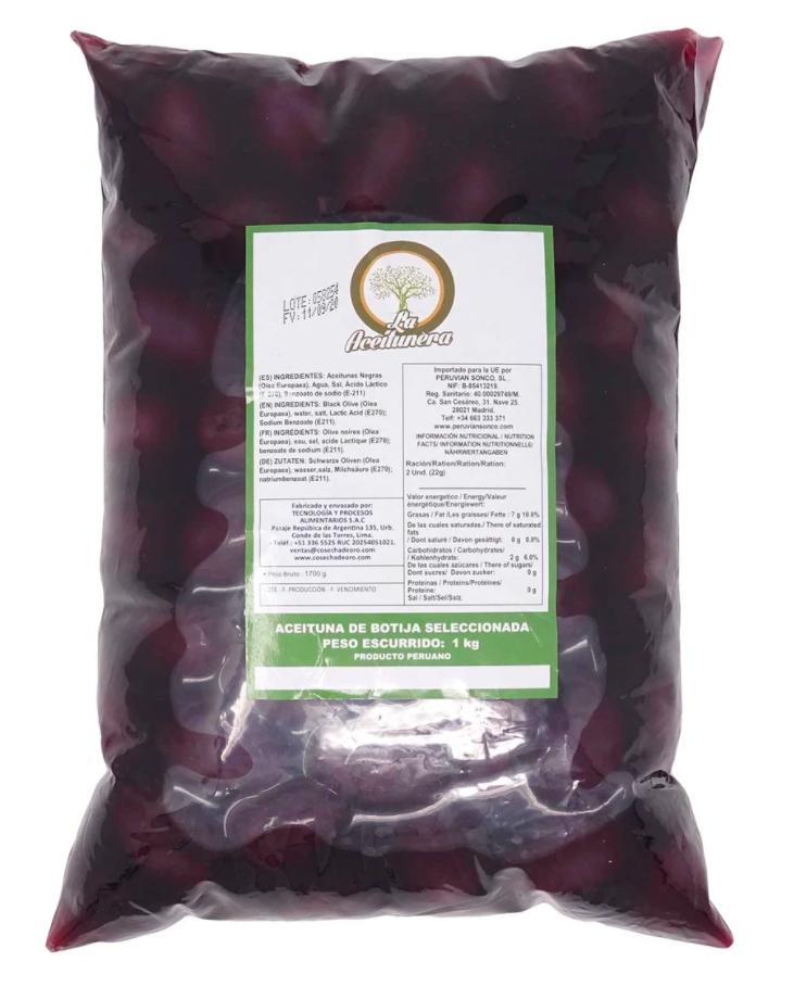Aceitunas de Botijas (Doos 12 bolsas de 500 gramos c/u)