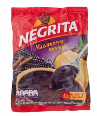 La Negrita / Mazamora Morada, Mazamora de Durazno, Maizena y Esencia de Vainilla.