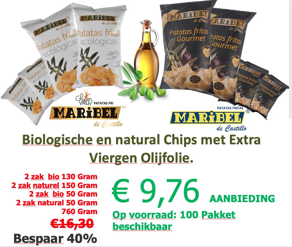 Fusion met Biologische en natural Chips met Extra Viergen Olijfolie.
