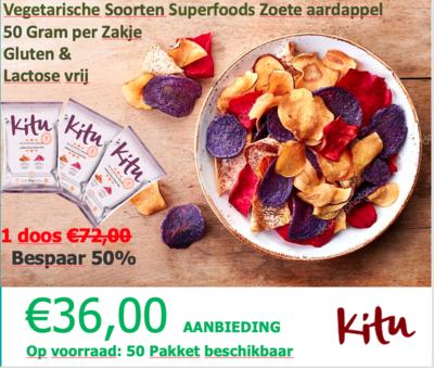 1 doos van Vegetarische Soorten Superfoods Zoete aardappel  50 Gram per Zakje