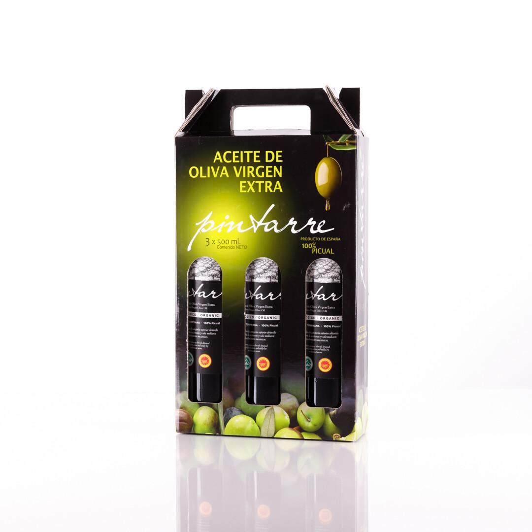 Cadeautje pakket met 3 x 500 ml van Biologische extra viergen Olijfolie