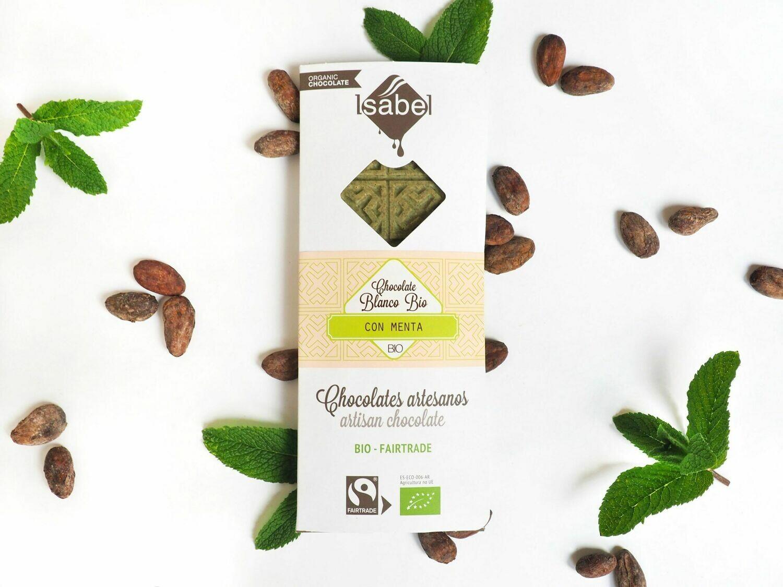 Biologische tablet van witte Chocolade met munt 80 Gram (Doos 10 x 80 gram)