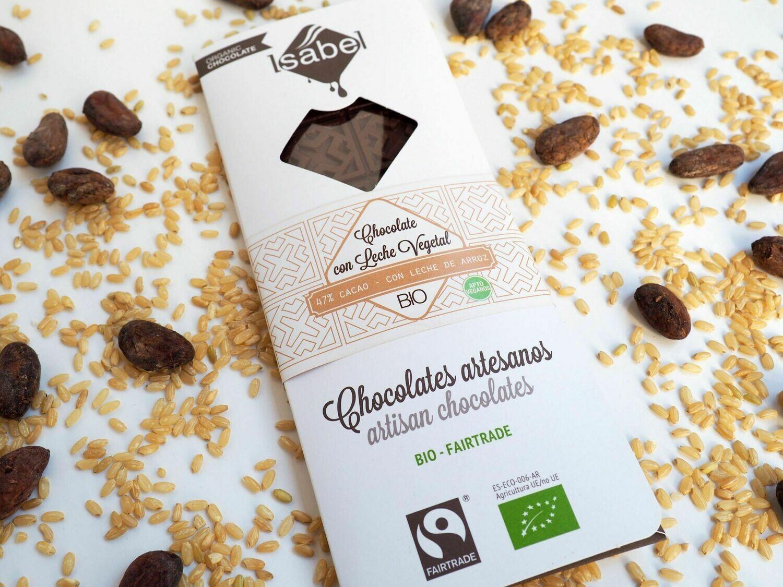 Biologische tablet van  Chocolade met vegetarische melk 47 % Cacao met rijst melk,  80 Gram (Doos 10 x 80 gram)