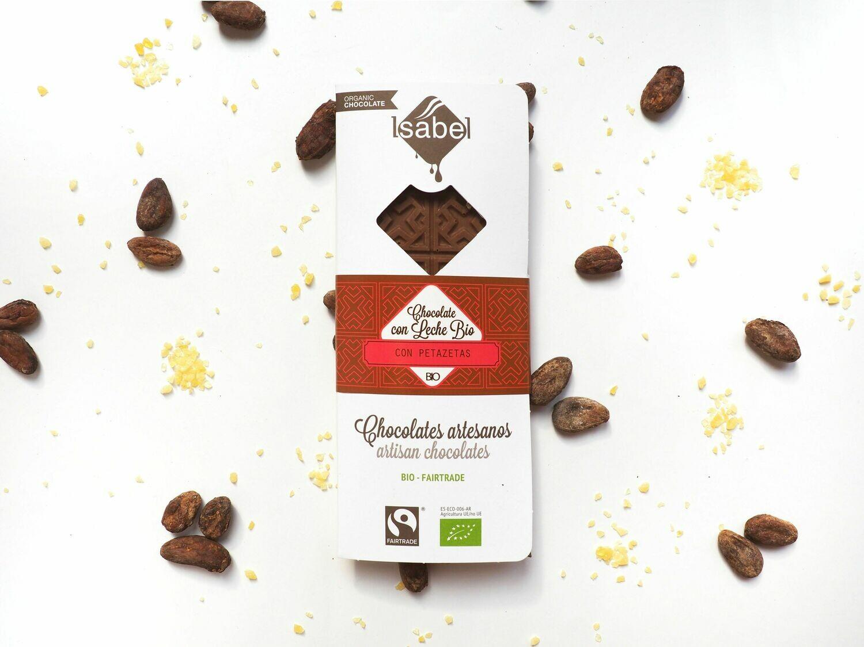 Biologische tablet van Chocolade met melk  en citroen bruisende (petazetas) 80 Gram (Doos 10 x 80 gram)