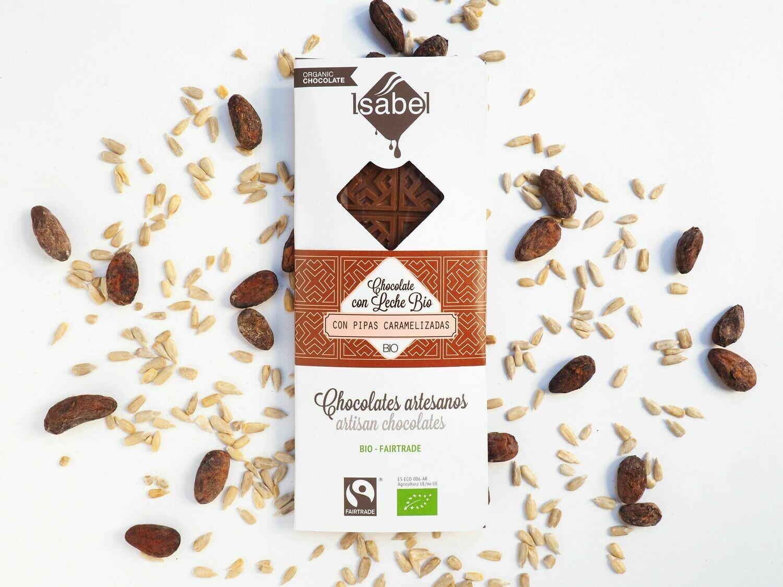 Biologische tablet van Chocolade met melk  en gekarameliseerde Pijpen, 80 Gram (Doos 10 x 80 gram)