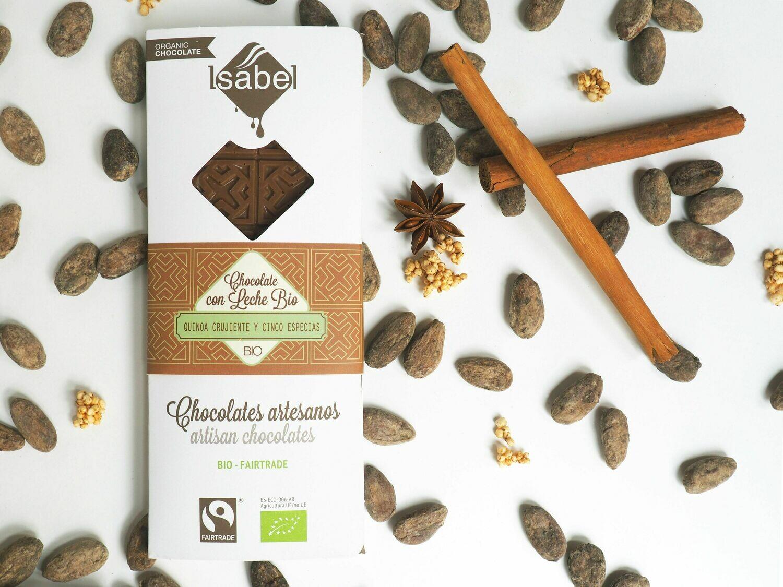 Biologische tablet van  Chocolade met Quinoa knapperig en vijf Chinese kruiden , 80 Gram (Doos 10 x 80 gram)
