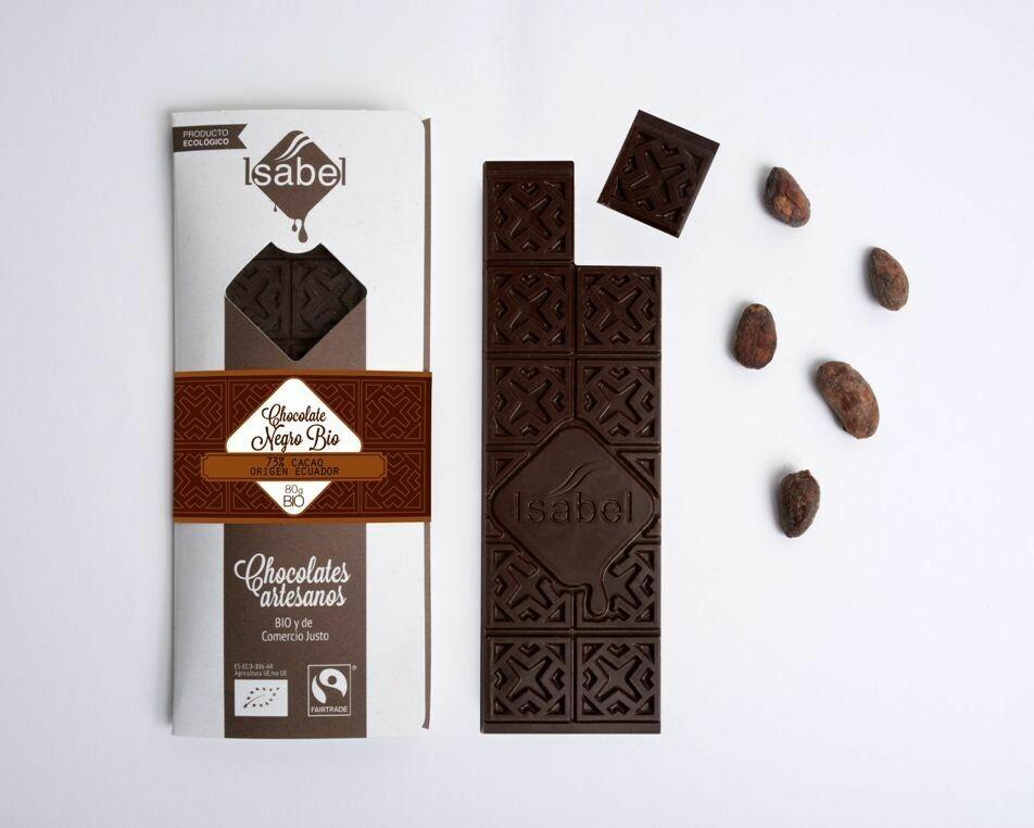 Biologische tablet van Chocolade 73%  Cacao, Herkomst  uit Ecuador, 80 Gram (doos 10 x 80 Gram)