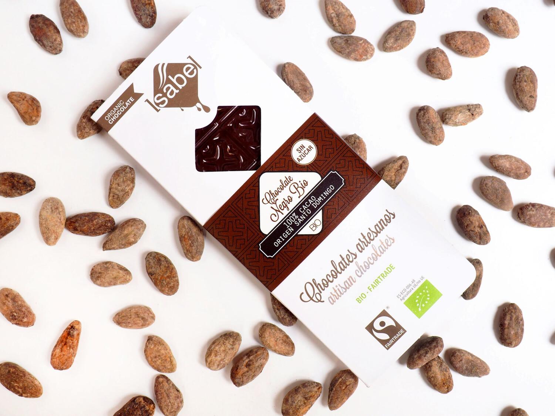 Biologische tablet van Puur  Chocolade 100% Cacao, Herkomst uit Dominicaanse Republiek, 80 Gram  (doos 10 x 80 Gram)