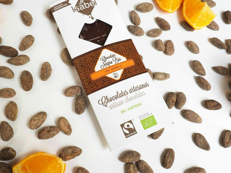 Biologische tablet van Chocolade 65 % Cacao met sinaasappels, 80 Gram  (doos 10 x 80 Gram)