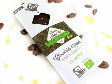 Biologische tablet van puur Chocolade 100 % Cacao met extra viergen olijfolie en Zoutbloem, 80 Gram  (doos 10 x 80 Gram)