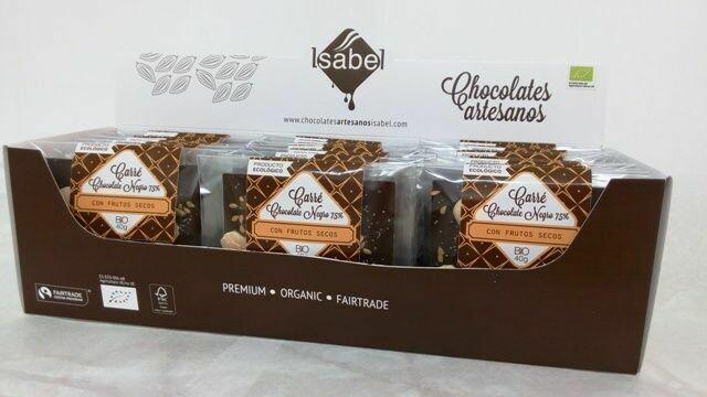 Biologische Carré van Puur chocolade met noten 40 Gram. - Doos 30 stuks