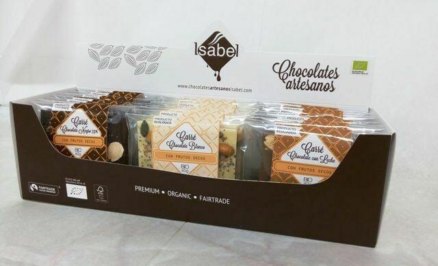 Biologische Carré - MIX Doos, 3 smaken (Biologische witte chocolade / melkchocolade / pure chocolade) Doos met 30 Stuks (10 stuks per smaak) Doos 30 stuks x 40 Gram)
