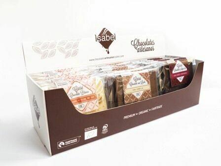 Biologische Carré Zout / Inclusies Soorten doos met 3 smaken ( Biologische witte chocolade / melkchocolade / pure chocolade, Doos 24 x 8 stuks per smaak)