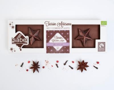 Biologische handgemaakte nougat met Chocolade en kruiden 200 Gram.(Doos 200 Gram x 10 stuks.)