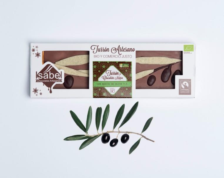 Biologische handgemaakte nougat met Chocolade 73% Cacao, truffel en extra vierge olijfolie, 200 Gram. (Doos 200 Gram x 10 stuks.)