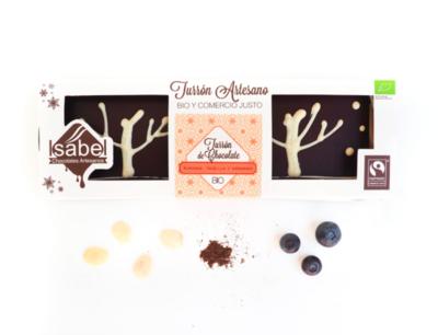 Biologische handgemaakte nougat met witte truffel ,chocolade , amandelen, bosbessen en vanille 200 Gram. (Doos 10 stuks x 200 Gram )