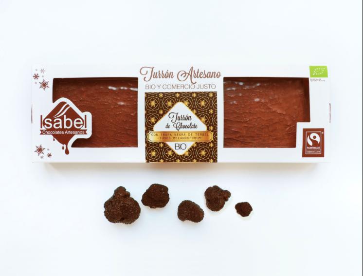 Biologische handgemaakte nougat met zwarte truffel van Teruel - TUBER MELANOSPORUM en Chocolade 200 Gram. (Doos 10 stuks x 200 Gram )