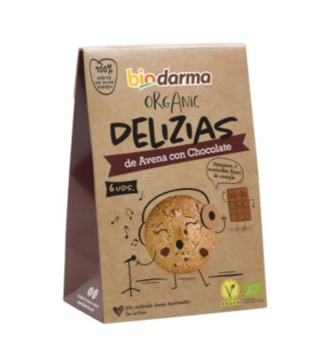 Biologische havermout koekjes met chocolade en extra viergen olijfolie 45 Gram , Doos 16 x 45 Gram
