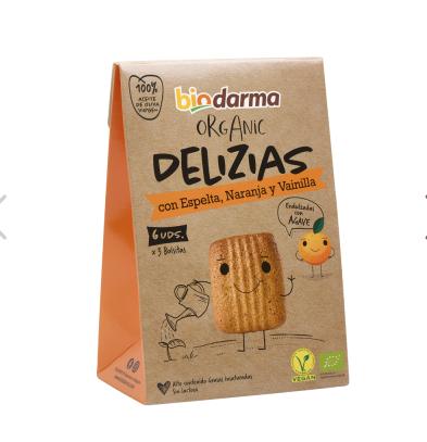 Biologische  spelt koekjes met sinaasappel, vanille en extra viergen olijfolie 45 Gram , Doos 16 x 45 Gram