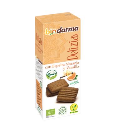 Biologische  spelt koekjes met sinaasappel, vanille (met agave siroop) en extra viergen olijfolie 125 Gram , Doos 12 x 125 Gram