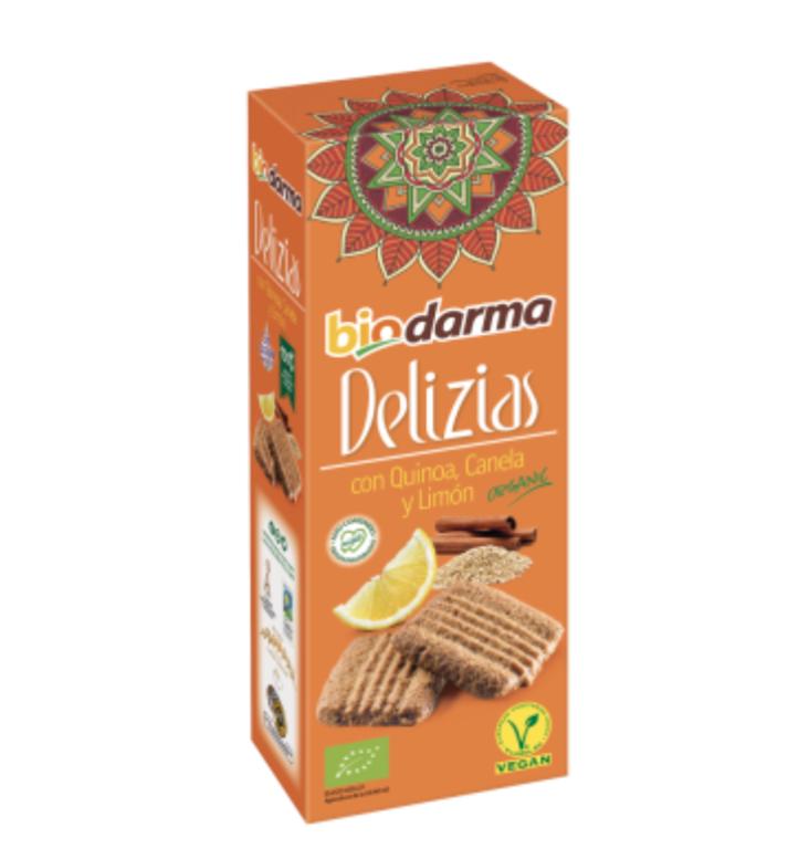 Biologische spelt koekjes met quinoa, kaneel, citroen en extra viergen olijfolie 125 Gram , Doos 12 x 125 Gram