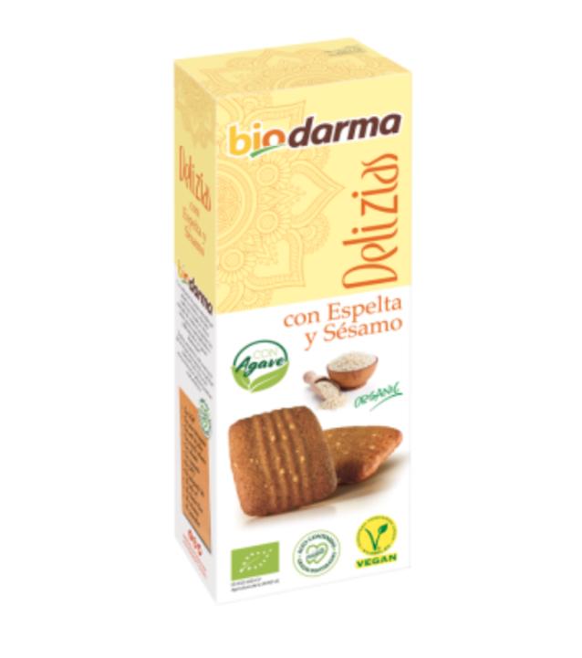 Biologische  spelt koekjes met sesam (met agave siroop) en extra viergen olijfolie 125 Gram , Doos 12 x 125 Gram