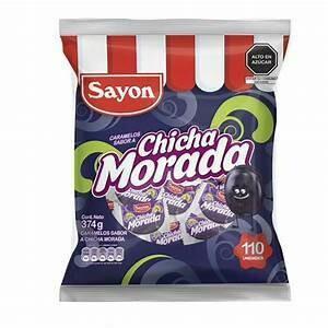 Caramelos de Chicha Morada (Doos x 5 bolsas, bolsa de 100 piruletas c/u)