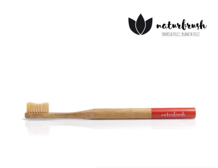 Tandenborstel Naturbrush Biologisch Afbreekbaar Bamboe Rood